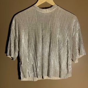 Bershka shiny silver ribbed crop top
